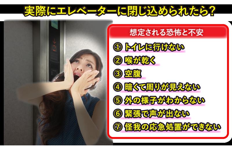 実際にエレベーターに閉じ込められたら?
